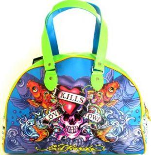 Ed Hardy Love Kills Slowly Design Large Koi Fish Bowling Bag   Blue Clothing