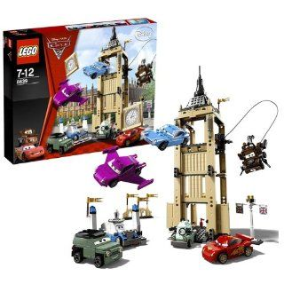 """Lego Year 2011 Disney Pixar """"Cars 2"""" Movie Scene Set #8639   BIG BENTLEY BUST OUT with Secret Entrance, Control Panels, a Slammer Function and a Winch, Queen's Podium Plus World Grand Prix Lightning McQueen, Agent Mater, Finn McMissile, Holle"""