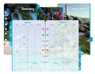 Day Timer Coastlines 2 Page Per Month Calendar Refill, Monthly Tabs, Desk Size, 5.5 x 8.5 Inches, January   December, 2013 (D13300 1301)  Appointment Book And Planner Refills
