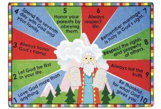 "Faith Based Ten Commandments Kids Rug Rug Size 10'9"" x 13'2""   Childrens Rugs"