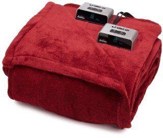 Sunbeam BW1211 030 470 Heated Electric Microplush Blanket, Full, Walnut