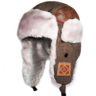 City Hunter W450 Premium Harringsbone Wool Patch Bomber Trapper Hat (Brown) at  Men�s Clothing store: