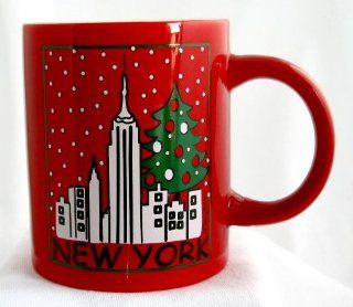 Christmas New York Red Mug White Inside Featuring Snowy NY Skyline with Christmas Tree Collectible Souvenir Gift Designed By Mary Ellis