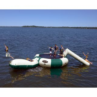 Rave Sports Bongo 15 ft. Northwoods Water Trampoline with Slide and Launch   Water Trampolines