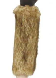 Furry Leg Warmers with Two Toned Highlights Boot Covers in Tan One Size