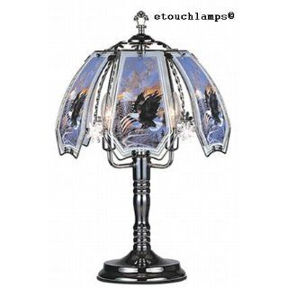 Patriotic Flag with Eagle Touch Lamp with Pewter Base   Table Lamps