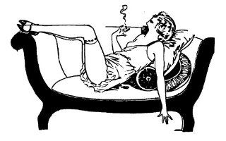 """Clear stamp (2.5"""" x 4"""") FLONZ clingy acrylic stamp // Decadent Girl Smoking on Coach"""