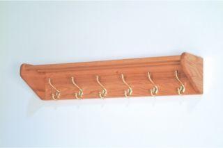 6 Hook Wooden Wall Coat & Hat Rack   Coat Racks