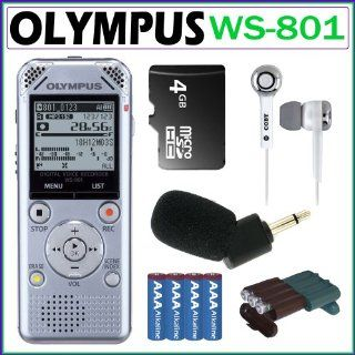 Olympus WS 801 2GB Digital Voice Recorder in Silver + 4GB Micro SDHC + Olympus Microphone + Stereo Earbuds + 4 AAA Batteries + Battery Case Electronics