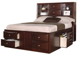 Queen Bed with Two Centered Stacked Drawers in Espresso by Poundex Home & Kitchen
