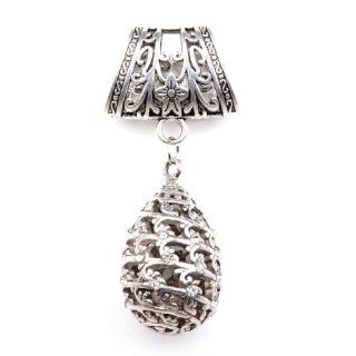 Water Drop Shape Pendant Scarf Bail with Charm Set,pt 832: Jewelry