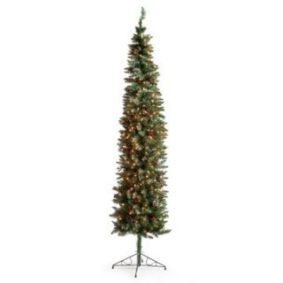Classic Pine Slim Pre lit Christmas Tree with Berries and Pine Cones   7.5 ft.   Clear   Christmas Trees