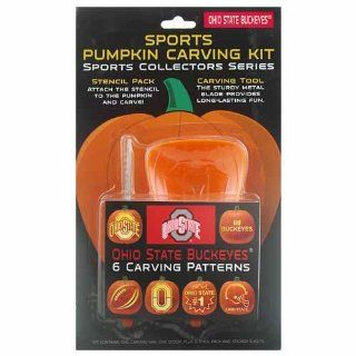 OHIO STATE BUCKEYES Complete Halloween PUMPKIN CARVING KIT (Carving Patterns, Carving Saw, Scoop, & Stencils): Sports & Outdoors