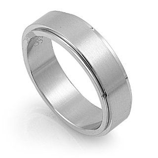 Stainless Steel High Polish Spinner Ring Size 6: Jewelry
