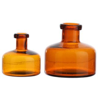 RAZ Imports Glass Bottles   Amber   Small   Set of 2   Decorative Accents