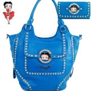 Betty Boop Fashion Unique Betty Boop Character and Gemstones Rhinestone Studded Two Line Zipper Embellishment Tote Satchel Handbag Purse with Wallet in Blue Clothing