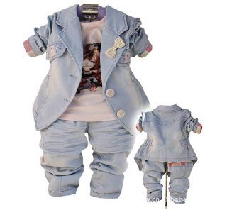 SOPO Baby Girls Cute Bow Jeans Outfits 3 Piece Set (Jacket, Tshirt, Pants) 9 24m : Infant And Toddler Pants Clothing Sets : Baby