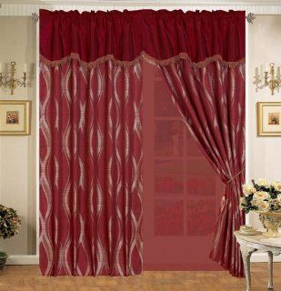 Burgundy Wave Curtain Set w/ Valance/Sheer/Tassels   Window Treatment Curtains