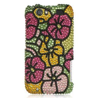 VMG For Motorola Atrix HD MB886 (Atrix 3) Cell Phone Gem Bling Rhinestone Design Hard Case Cover   Pink Green Yellow Floral Flower [Special Promotional Price]