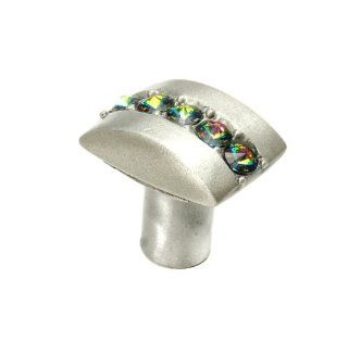 Carpe Diem Hardware 872 11VM Cache Multi Crystal Rectangle Knob Made with Swarovski Element, Satin, 1 1/4 Inch   Cabinet And Furniture Knobs