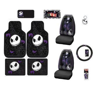 Nightmare Before Christmas NBC Jack Skellington Graveyard Front & Rear Car Truck SUV Seat PlastiClear Floor Mats & Universal fit Bucket Seat Covers & Steering Wheel Cover & Key Chain & 10 CD/DVD Visor Organizer & License Plate Frame