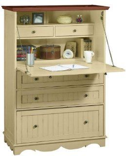 French Country Deluxe Secretary Desk, FIVE DRAWER, MAPLE