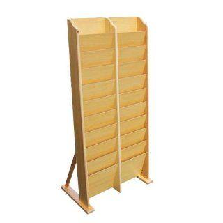 Signworld 20 Pocket Wooden Magazine Rack Wall Mount / Free Standing  Literature Display Wall Racks