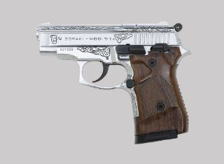 Zoraki 914 Front Firing Blank Gun, Chrome Engraved Edition