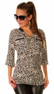 Glamour Empire Women's Animal Leopard Print Buttoned Shirt Top Blouse Fashion T Shirts