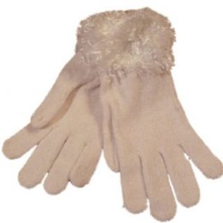 Croft & Barrow Ivory Chenille Gloves with Frizzy Fuzzy Yarn Cuff Cold Weather Gloves