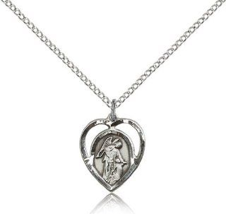 .925 Sterling Silver Guardian Angel Medal Pendant 5/8 x 1/2 Inches  4129  Comes with a .925 Sterling Silver Lite Curb Chain Neckace And a Black velvet Box: Pendant Necklaces: Jewelry