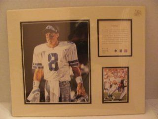 """Vintage   TROY AIKMAN (Dallas Cowboys / NFL / Hall of Famer)   1996   LIMITED EDITION Original Art KRSI (Kelly Russell Studio Inc.) Collectibles   Matted Lithograph Individually Numbered PRINT #11558 (approx. 11"""" x 14"""") / Original Painting by Tim"""
