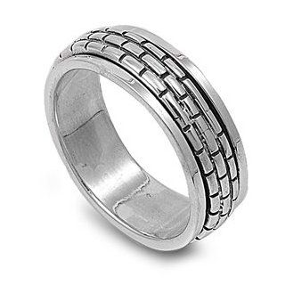 Brick Wall Pattern 8MM Spinner Ring Sterling Silver 925: Jewelry