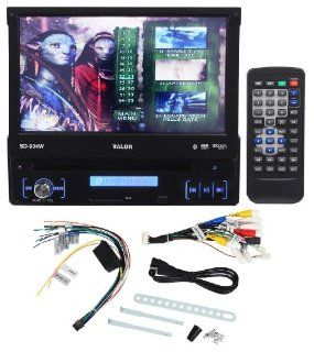 """Valor SD 904W Single DIN 7"""" In Dash AM/FM/CD/DVD Car Stereo Receiver With Bluetooth, USB Input, SD Card Reader and Wireless Remote Control  Vehicle Cd Player Receivers"""
