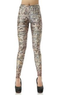 LoveLiness Hieroglyphic Calico Printed Leggings One Size Brown at  Women�s Clothing store