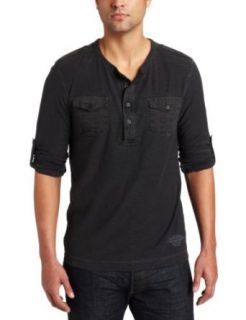 Calvin Klein Jeans Men's Long Sleeve Military Henley Shirt, Black, Small at  Men�s Clothing store