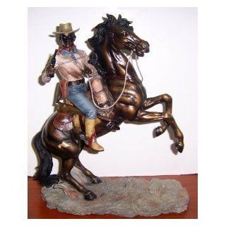 """Rodeo Cowboy on Horse Statue Figurine    12"""""""