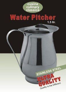 Stainless Steel Diamond Shape Water Pitcher   1.5 Quart: Kitchen & Dining