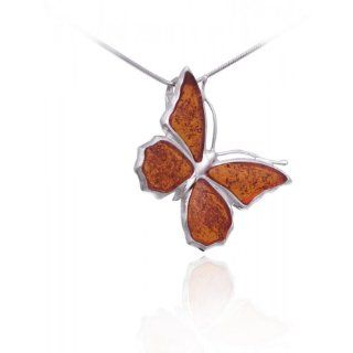 Timeless Amber, Carved Honey Butterfly Pendant, .925 Sterling Silver: Baltic Amber Butterfly Pendant Necklace: Jewelry