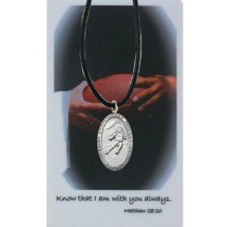 Athlete Protection Boys Football 1 inch Pewter Saint Christopher Sports Medal: Jewelry