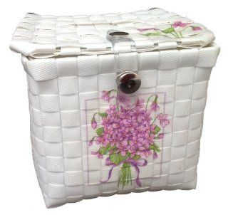 Tissue Holder For Table Vintage Hand Woven Tissue Paper Box White Plastic Fibers Decorate By Decoupage : Everything Else