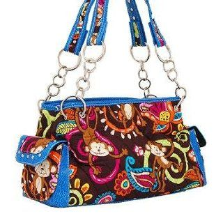MONKEY AND PAISLEY PRINT QUILTED SHOULDER BAG WITH RHINESTONE & STUDS PURSE TURQUOISE Clothing