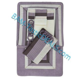 PURPLE with BROWN and BEIGE STRIPES 18 Piece Bathroom Set 2 Rugs/Mats, 1 Fabric Shower Curtain, 12 Fabric Covered Rings, 3 Pc. Decorative Towel Set