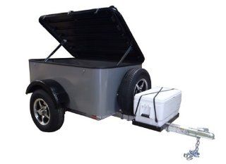 Hybrid Trailer Co. Vacationer with Spare Tire and Cooler Tray   Enclosed Cargo Trailer, 990 lbs. Gross, 30 cu/ft.   Pewter Automotive
