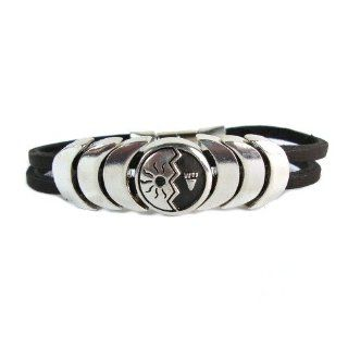 Gentle Strength Symbol for Courage Magnetic Closure Leather Bracelet: Bangle Bracelets: Jewelry