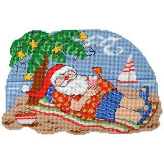 Craftways Tropical Santa Wall Hanging Plastic Canvas Kit   Christmas Ball Ornaments