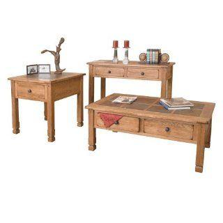 Arizona Rustic Oak Occasional Table Set W/ Slate Top   Living Room Furniture Sets