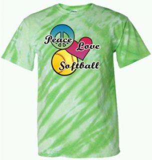 Adult Green Tiger Stripe Tie Dye Peace Love Softball T Shirt   2XL Clothing