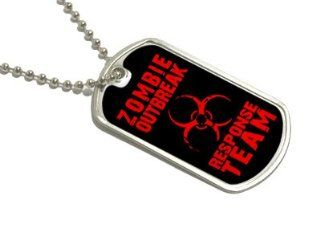 Zombie Outbreak Response Team Red   Dog Tag Keychain Automotive