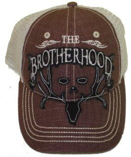 Bone Collector ~ Brown and White Mesh Brotherhood Logo'd ~ Deer Hunting hat Cap : Camouflage Hunting Apparel : Sports & Outdoors